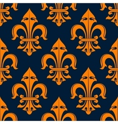 Orange and blue fleur-de-lis seamless pattern vector image