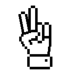 Outline pixelated hand with peace and love symbol vector