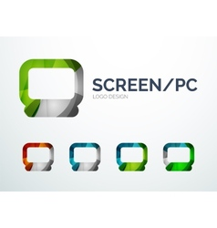 PC screen logo design made of color pieces vector