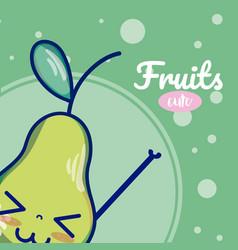pear cute fruits cartoons vector image