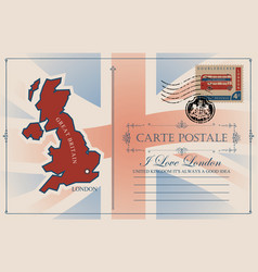 Postcard with map and flag of great britain vector