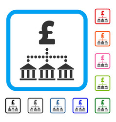 Pound bank scheme framed icon vector