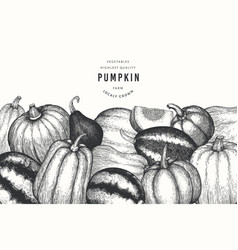 pumpkin design template hand drawn thanksgiving vector image