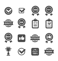 Quality control icons set symbols vector