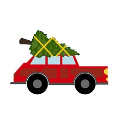 Red car with christmas tree vector