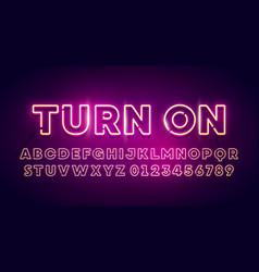 retro glow font neon light typography vector image