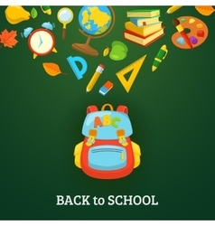 School bag and supplies vector