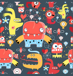 seamless graphic pattern amusing monsters vector image