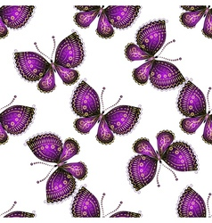 Seamless pattern with violet butterflies vector image