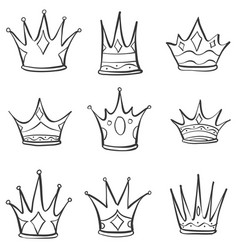 Set crown hand draw collection vector