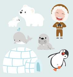set of eskimo flat design vector image