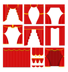 set of red theater curtain and lambrequins vector image