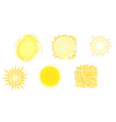 Set of yellow hot icons of sun isolated on white vector