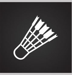 Shuttlecock icon on black background for graphic vector