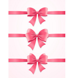 Silk pink ribbon and bow set vector
