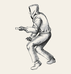 sketch of a thief wearing hood vector image