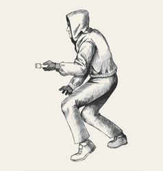 Sketch of a thief wearing hood vector
