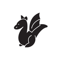 small dragon black concept icon small vector image