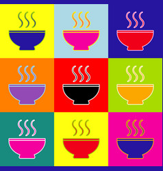 soup sign pop-art style colorful icons vector image