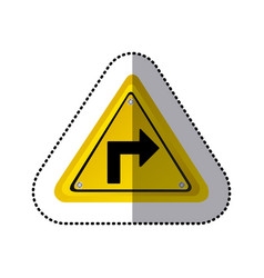 sticker yellow triangle frame turn right traffic vector image