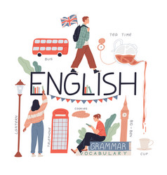 Studying english language and culture travel to vector
