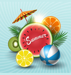 summer sunny sale banner with circle watermelon vector image