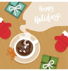 Top view of Christmas celebration table with hot vector