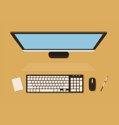 Top view of computer screen with keyboard vector