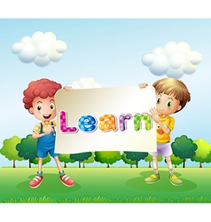 Two boys holding a banner that has words on it vector image