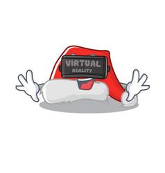 virtual reality santa hat character shaped in vector image