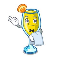 Waiter mimosa mascot cartoon style vector