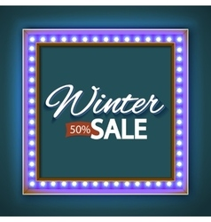 Winter sale with blue lights vector