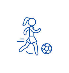 Womens football line icon concept womens football vector