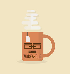 Workaholic abstract orange mug icon with steam vector