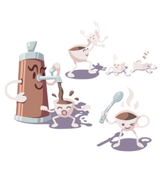 Adventures of coffee cup vector image