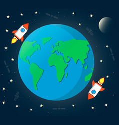 earth space with moonrockets satellite and stars vector image