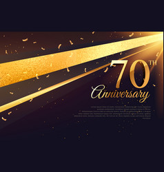 70th anniversary celebration card template vector image vector image