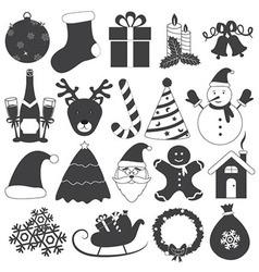 Black and White Christmas Icons Set vector image vector image