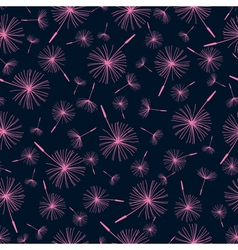 Black seamless pattern with dandelion fluff vector image vector image