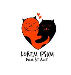 cats love heart couple valentine wedding vector image