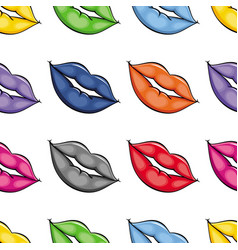 flat girl lips colored seamless pattern vector image