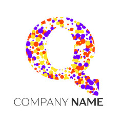 letter q logo with purple yellow red particles vector image