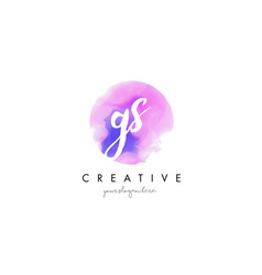 gs watercolor letter logo design with purple vector image vector image