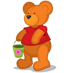 Teddy bear with pail in red vector image vector image