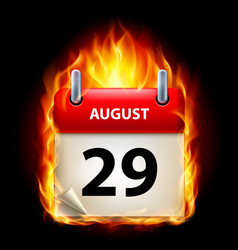 twenty-ninth august in calendar burning icon on vector image vector image