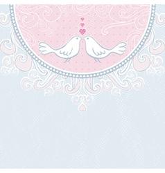 Valentine hand draw doves pink background vector