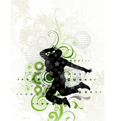 dancer on floral background vector image vector image