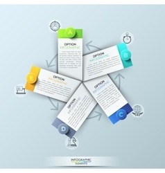 Infographic design template with 5 rectangular vector