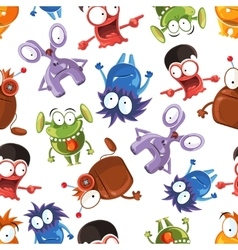 Seamless monster pattern Stock vector image vector image