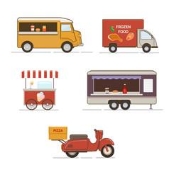 set of street food transport vector image